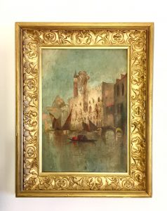 Antique impressionist oil painting of Venice.