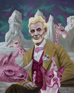 """Peppermints with Lincoln in the Land of Extreme Albinism"" by artist Sean Madden."