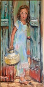 """Girl with a water jug"" Oil painting by Maria O'Dell"