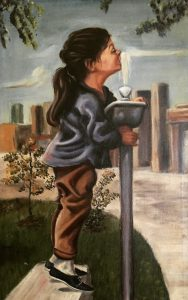 "Mid-century Modern Oil Painting ""Girl at Water Fountain"" by Johnson (1966)."
