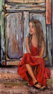 """Gypsy girl in a red dress,"" oil painting by Maria O'Dell."