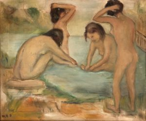 """Four Female Nude Bathers"" by M.E.S."