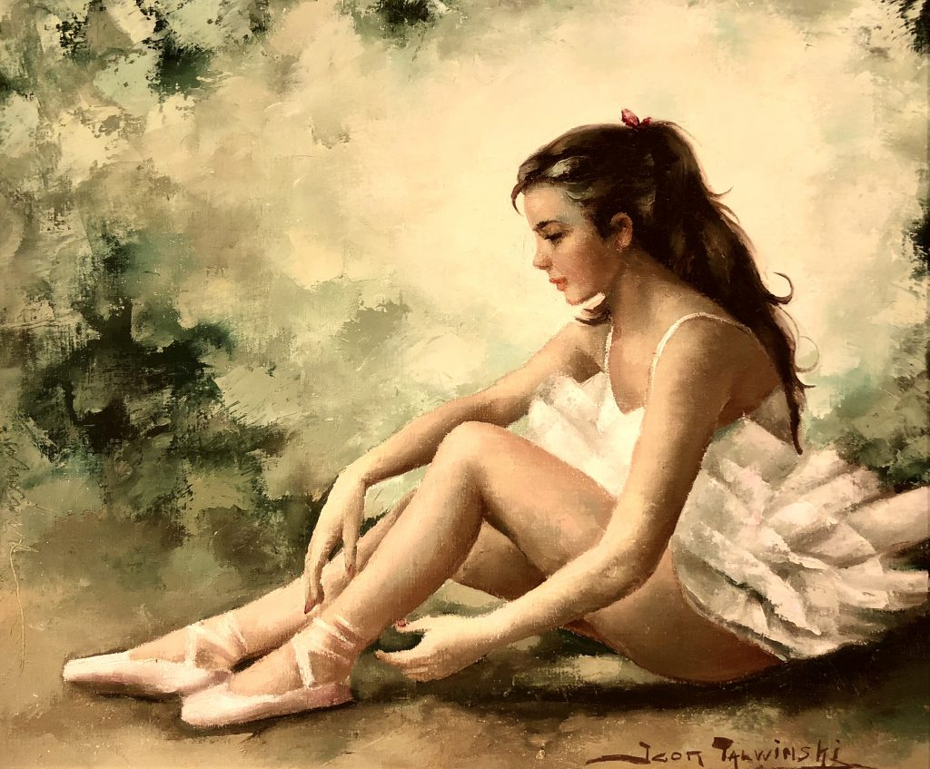 """Ballerina in Repose."" Oil painting by Igor Talwinski"