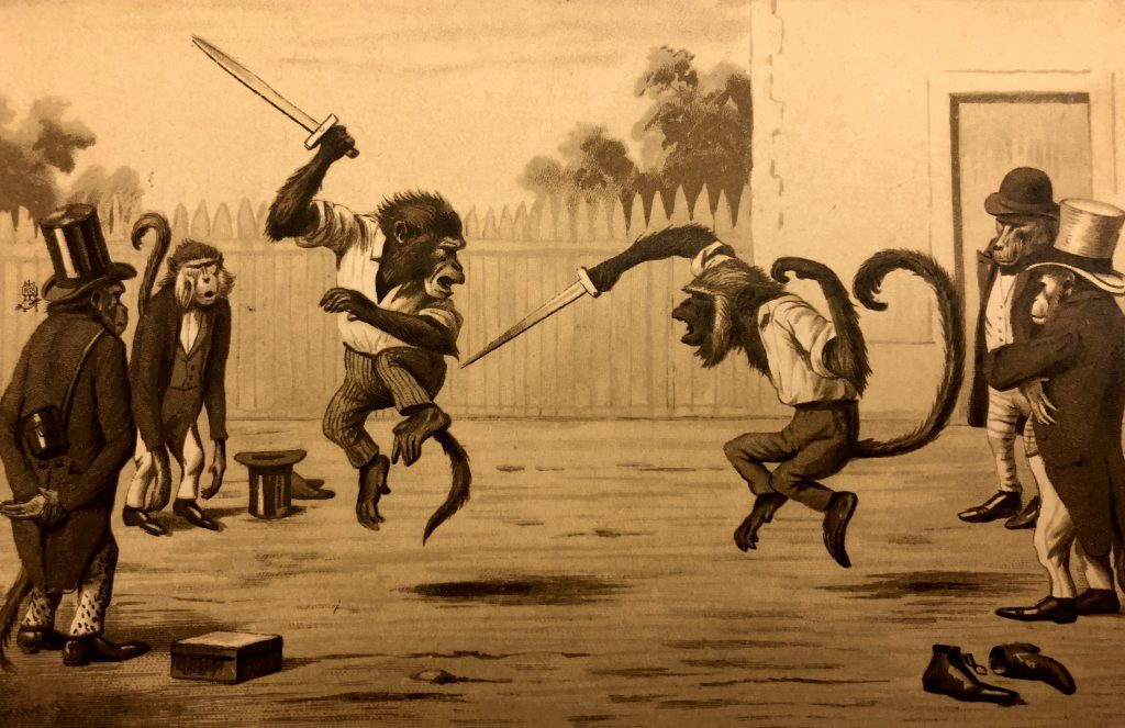 """Monkey Sword Fight"" by artist Maurice Boulanger, published by Raphael Tuck & Sons in the early 1900s."
