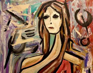 Abstract painting of a woman by artist Kevin Doyle.