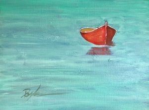 The red boat oil painting by artist Kevin Doyle