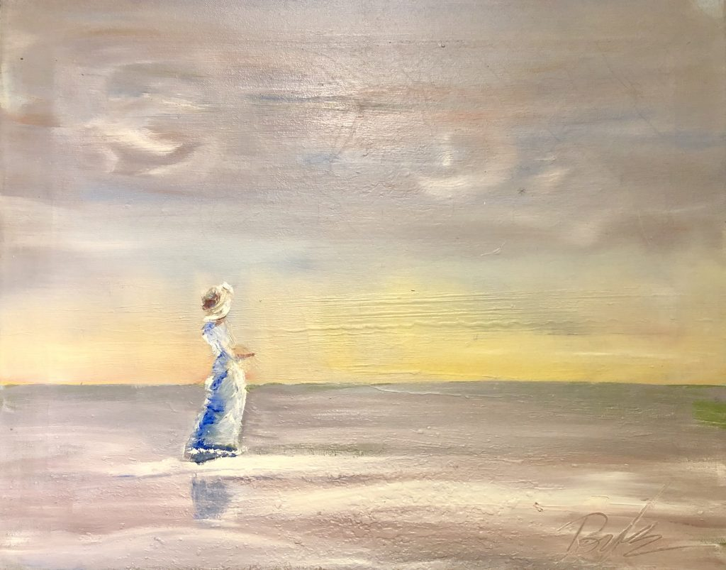 Woman on the beach, oil painting by artist Kevin Doyle.