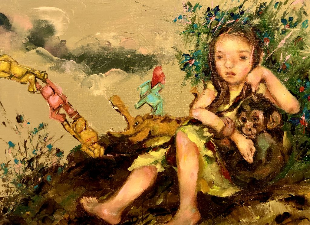 "Little Rapunzel plays with Legos as she cradles her monkey and protects him from a crocodile that lurks in the background of the oil painting titled, ""Following Nature"" by artist Shiueh Lih."