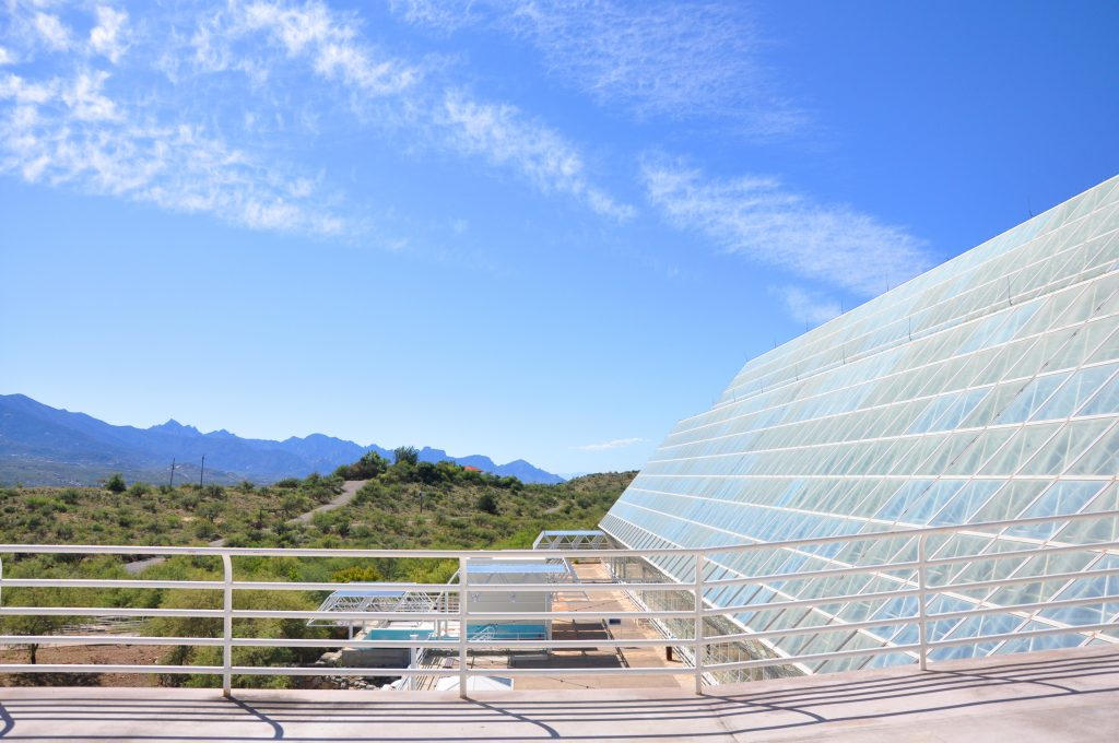 The Santa Catalina Mountains and the Biosphere 2 Center.