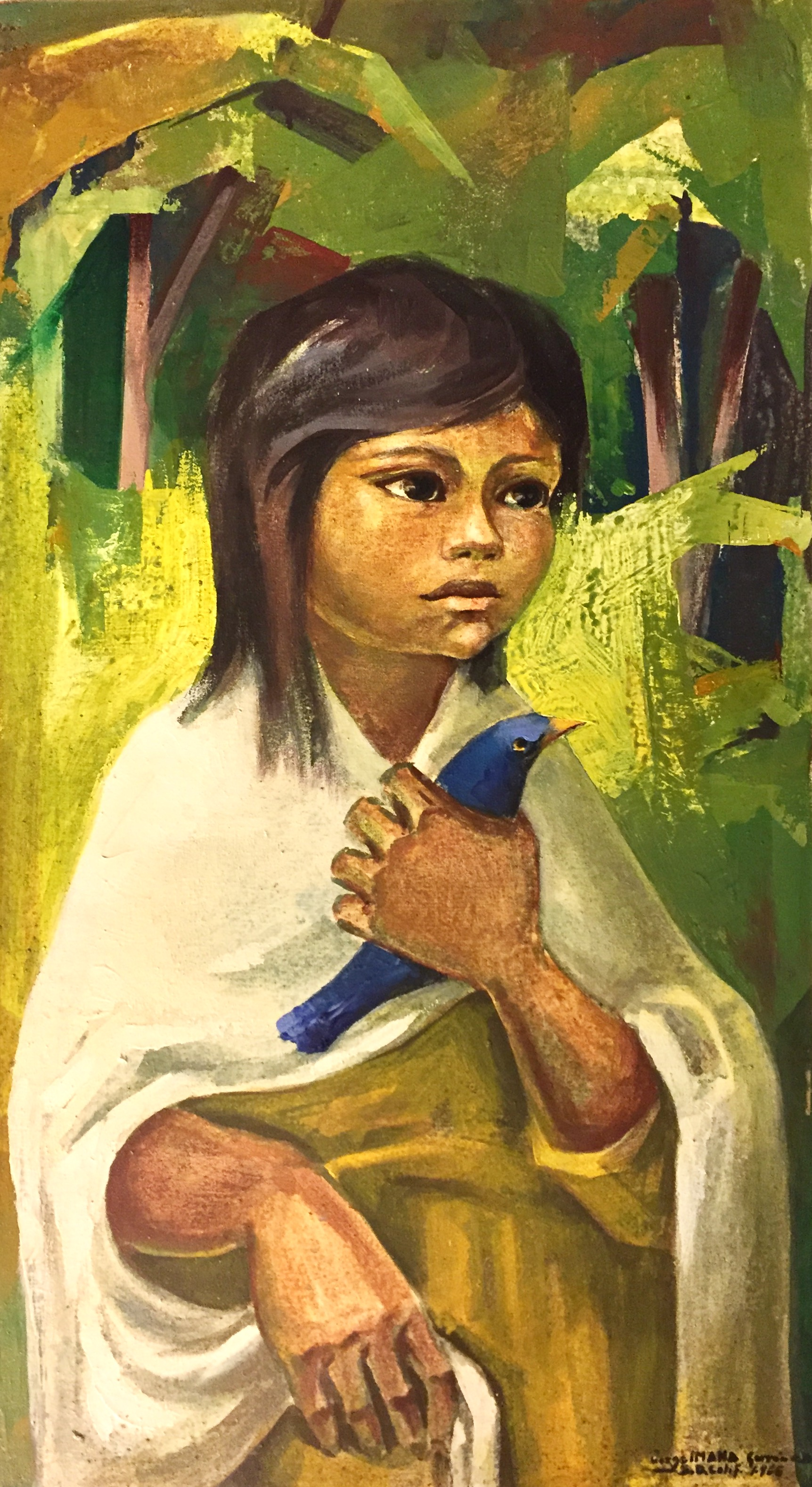 """""""Girl with Bird"""" (oil on canvas) by Jorge Imana Garron. Celebrated as one of the Masters of Bolivian Art of the 20th Century, Jorge Imana Garron's extraordinary work was painted in 1965 and was exhibited at the 12th Annual San Diego County Fiesta Art Exhibition."""