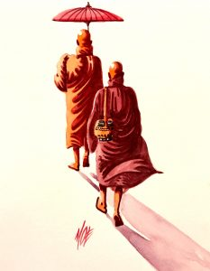 Bhikkhus, a watercolor painting donated to The Michael Aaron Gallagher Fine Art Collection.
