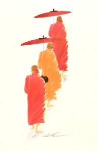 Watercolor painting of Buddhist monks