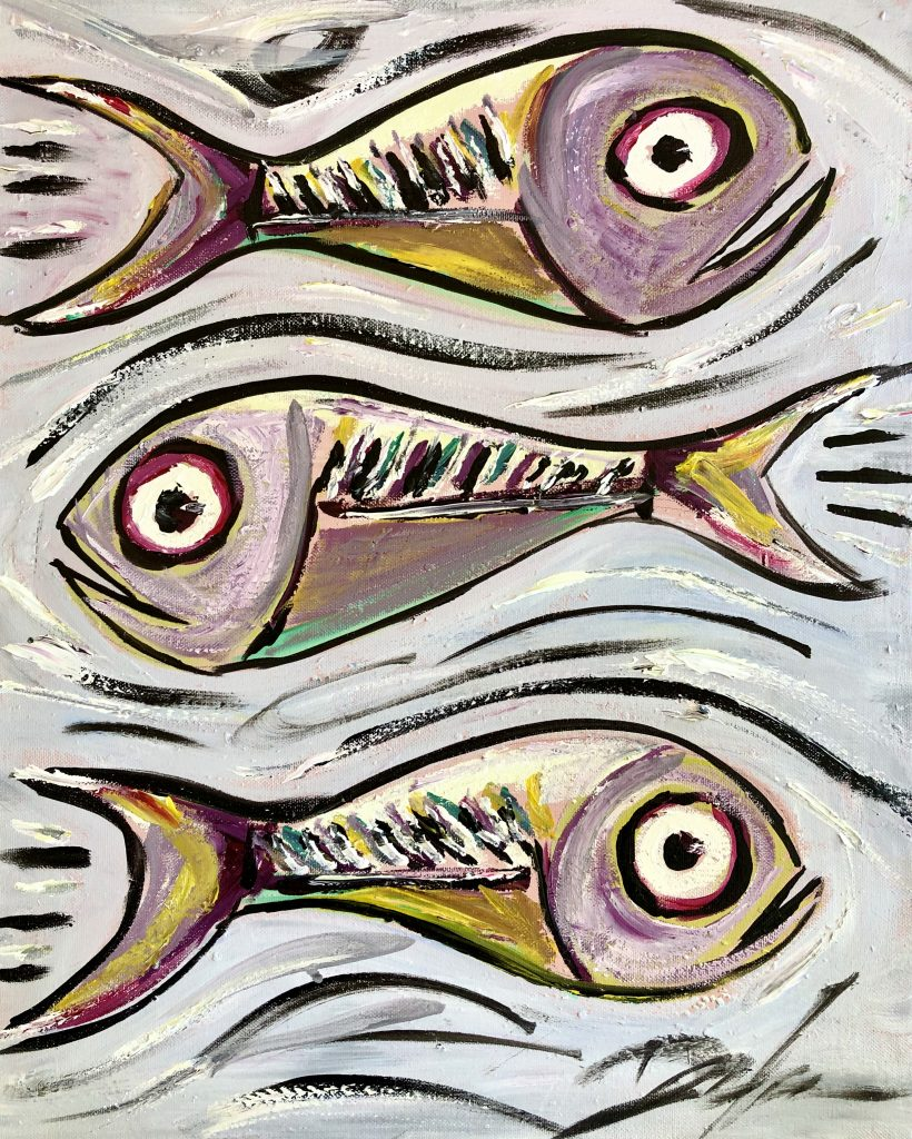 Kevin Doyle abstract fish painting