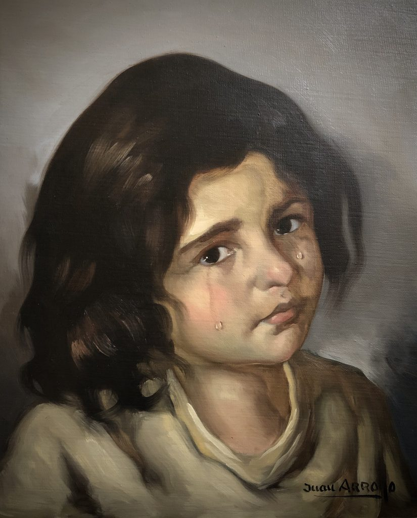 Untitled portrait of a crying gypsy girl by artist Juan Arroyo.