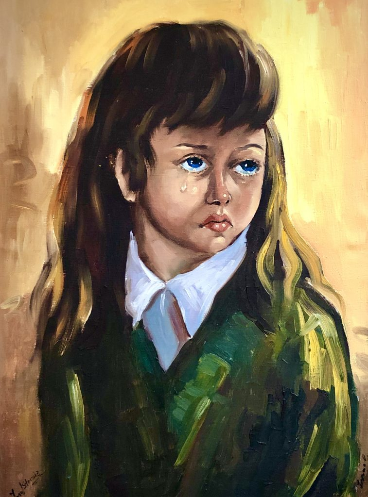 Untitled portrait of crying girl by unknown artist.