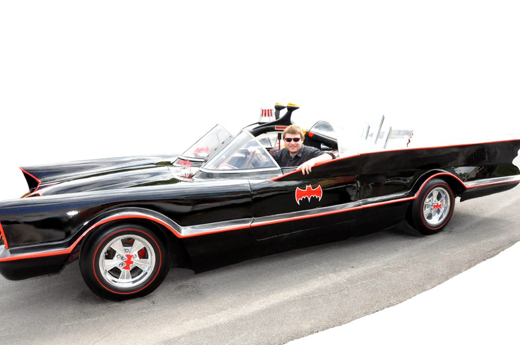 Michael Aaron Gallagher in the Batmobile